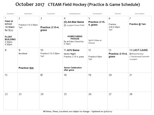 C-Team Oct Schedule